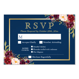 Burgundy Floral Gold Navy Blue Meal Options RSVP Card