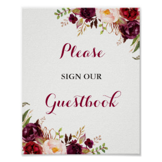 Burgundy Floral Guestbook Wedding Sign