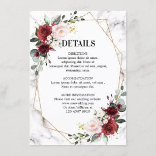 Burgundy Floral Marble Geometric Wedding Details Enclosure Card