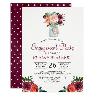 Burgundy Floral Mason Jar Engagement Party Card