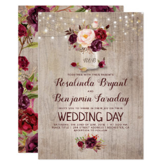 Burgundy Floral Mason Jar Rustic Wedding Card