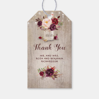 Burgundy Floral Mason Jar Rustic Wedding Gift Tags