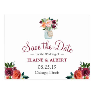 Burgundy Floral Mason Jar Save The Date Postcard