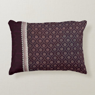 Burgundy Floral Medallion Accent Pillow