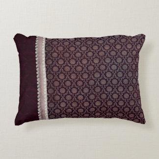 Burgundy Floral Medallion Accent Pillow