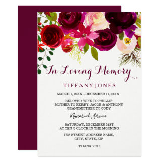 Burgundy Floral Memorial Announcement Service