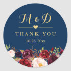 Burgundy Floral Navy Blue Monogram Wedding Favour Classic Round Sticker