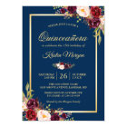 Burgundy Floral Navy Blue Quinceanera Birthday Card