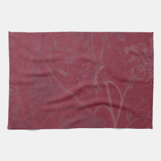 Burgundy Floral Print Background Kitchen Towel
