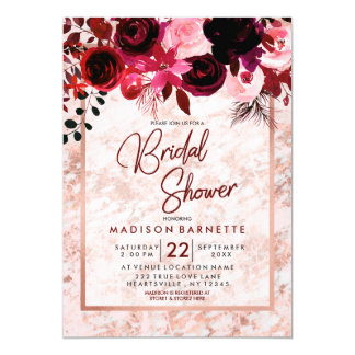 Burgundy Floral Rose Gold Bridal Shower Invitation