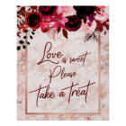 Burgundy Floral & Rose Gold Love is Sweet Treat Poster