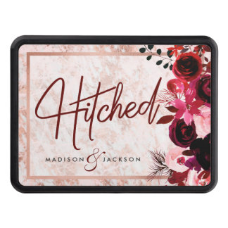 Burgundy Floral & Rose Gold Marble Wedding Hitched Trailer Hitch Cover