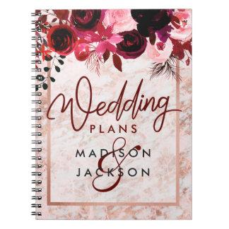 Burgundy Floral & Rose Gold Marble Wedding Planner Notebooks