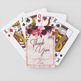 Burgundy Floral Rose Gold Marble Wedding Thank You Playing Cards