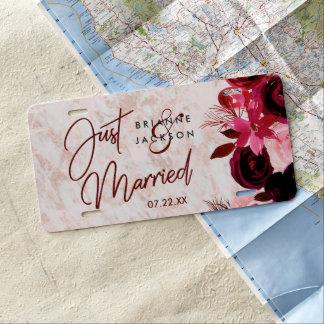 Burgundy Floral & Rose Gold Wedding Just Married License Plate