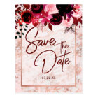 Burgundy Floral & Rose Gold Wedding Save the Date Postcard