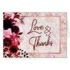 Burgundy Floral & Rose Gold Wedding Thank You Card