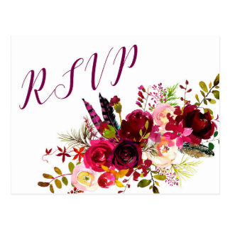 Burgundy Floral RSVP reply 3979, entree choices Postcard