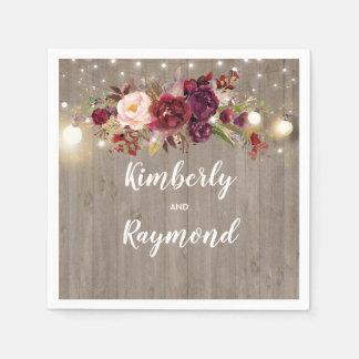 Burgundy Floral Rustic Paper Napkin