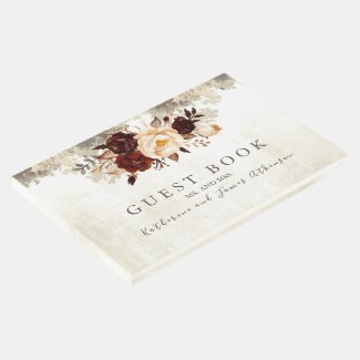 Burgundy Floral Rustic Wedding Guest Book