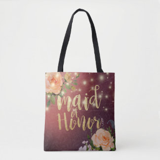 Burgundy Floral String Light Wedding Maid of Honor Tote Bag