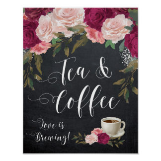 burgundy floral tea and coffee sign wedding