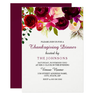 Burgundy Floral Thanksgiving Dinner Party Invite