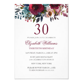 Burgundy Floral Watercolor 30th Birthday Invite