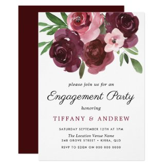 Burgundy Floral Watercolor Engagement Party Invite