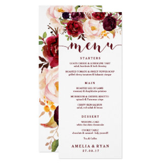 Burgundy Floral Wedding Menu Card