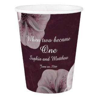 Burgundy Floral Wedding Paper Cup