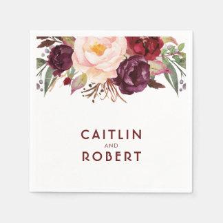 Burgundy Floral Wedding Paper Napkins