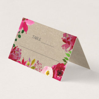 Burgundy Floral Wedding Reception tent, place card