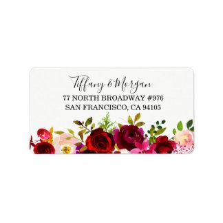 Burgundy Floral Wedding Return address label