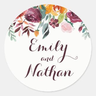 Burgundy Floral Wedding Sticker