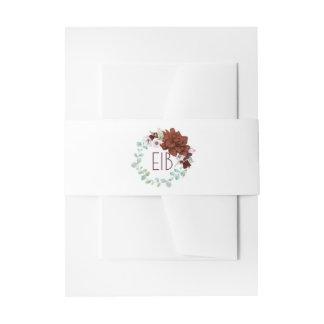 Burgundy Floral Wreath Elegant Watercolors Wedding Invitation Belly Band