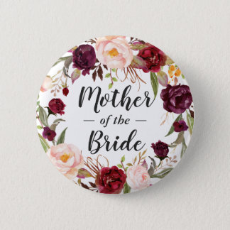 Burgundy Floral Wreath Mother of the Bride Groom 2 Inch Round Button