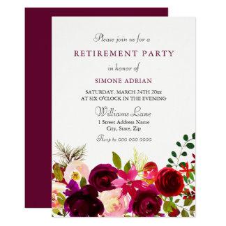 Burgundy Flower Floral Elegant Retirement Party Card