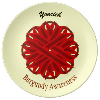 Burgundy Flower Ribbon by Kenneth Yoncich Plate