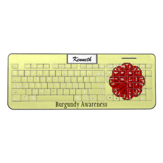 Burgundy Flower Ribbon by Kenneth Yoncich Wireless Keyboard