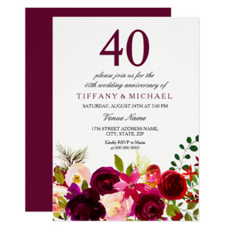 Burgundy Flowers 40th Wedding Anniversary Invite