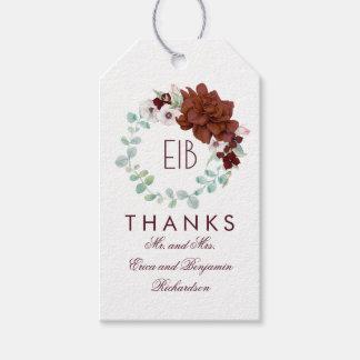 Burgundy Flowers Elegant Wedding Pack Of Gift Tags