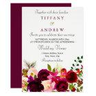 Burgundy Flowers Floral Elegant Wedding Invitation