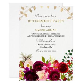Burgundy Flowers Gold Leaf Retirement Party Card