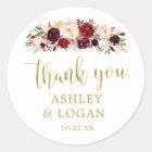Burgundy Flowers Monogram Wedding Favour Sticker
