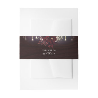 Burgundy Flowers Rustic String Lights Wedding Invitation Belly Band