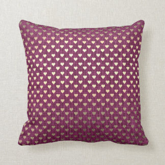 Burgundy Foxier Gold Metallic Hearts Linen Cottage Throw Pillow