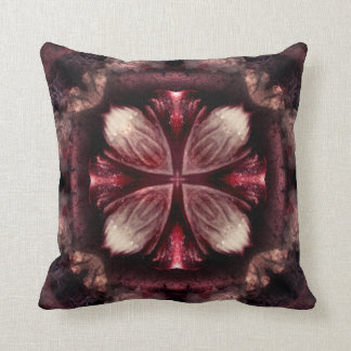 Burgundy Fractal Square Throw Pillow
