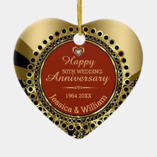Burgundy & Gold 50th Wedding Anniversary Ceramic Heart Ornament