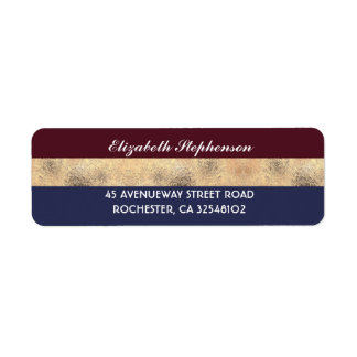 Burgundy Gold and Navy Stripes Modern Wedding Return Address Label